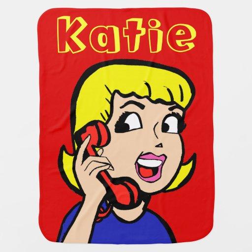 Telephone Girl Comic Strip Baby Blanket