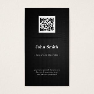 Telephone Operator - Elegant Black QR Code Business Card