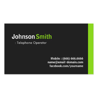 Telephone Operator - Modern Minimalist Green Pack Of Standard Business Cards