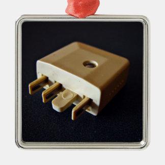 Telephone plug to standard RJ-11 adaptor Metal Ornament