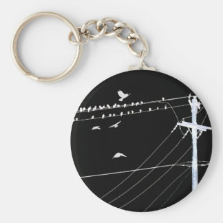 telephone wire basic round button key ring