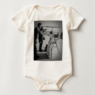 Telescope and Men The Battery Lower Manhattan NYC Baby Bodysuit