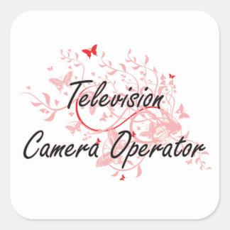 Television Camera Operator Artistic Job Design wit Square Sticker