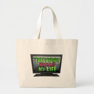 TELEVISION RUINED MY LIFE (YaWNMoWeR) Large Tote Bag