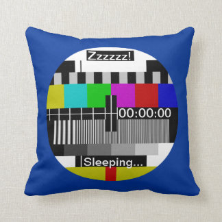 Television - Tv stand by test card Throw Pillows