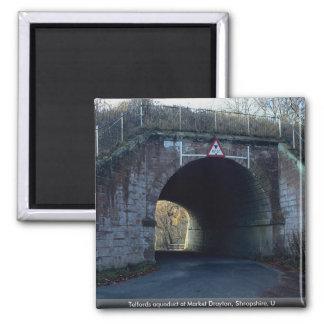 Telfords aqueduct at Market Drayton, Shropshire, U Square Magnet