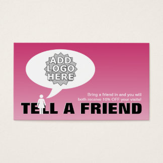 tell a friend referral comic business card