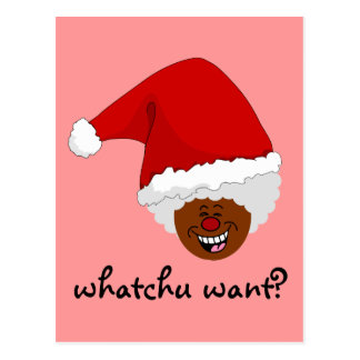 Tell Black Santa What You Want for Christmas Postcard
