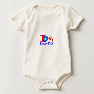 """""""Tell The World"""" I Love My Rescue Pets Baby Bodysuit"""