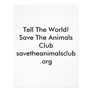 Tell The World!Save The Animals Clubsavetheanim... 21.5 Cm X 28 Cm Flyer