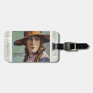 Tell The World Vintage Woman Daisy Sheet Music Travel Bag Tags