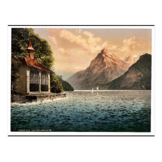 Tell's Chapel, evening view, Lake Lucerne, Switzer Post Card