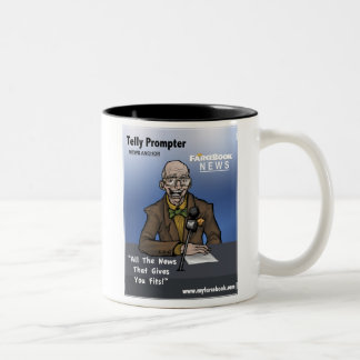 Telly Prompter- MyFarcebook News Network Anchorman Two-Tone Coffee Mug