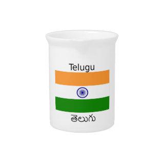 Telugu Language And India Flag Design Pitcher