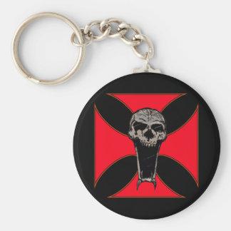 Templar cross skull basic round button key ring