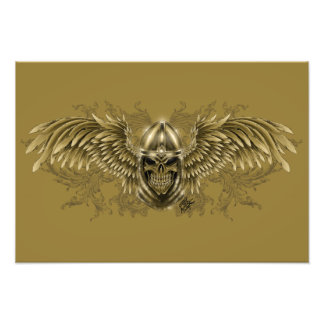 Templar Knight Gothic Medieval Skull with Wings Photographic Print