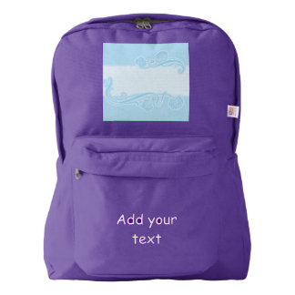 template,art nouveau pattern,baby blue,add text, c backpack