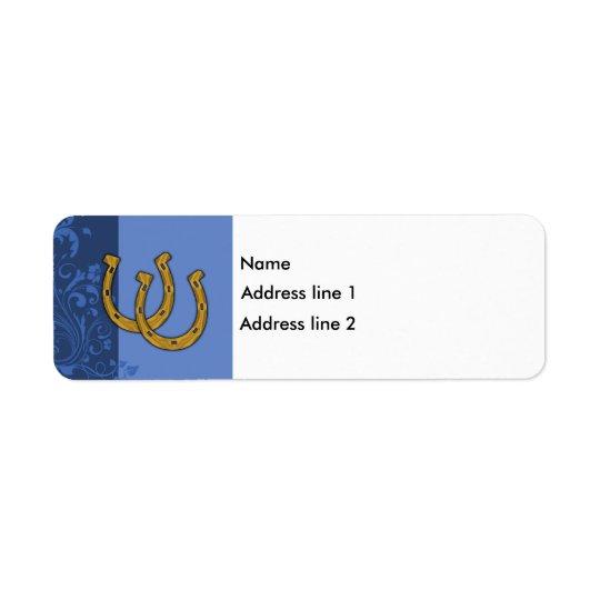 Template - Blue Floral Label Horseshoe Return Address Label