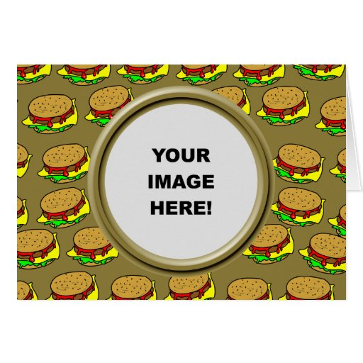 Template, Burger Border Greeting Cards