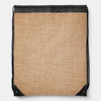 Template - Burlap Background Drawstring Bag