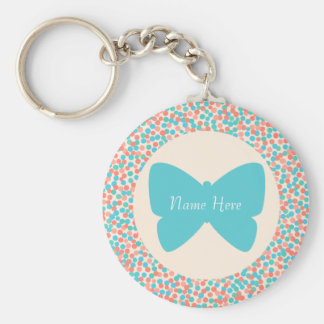 Template Butterfly Dots Keychain - 369 Antique
