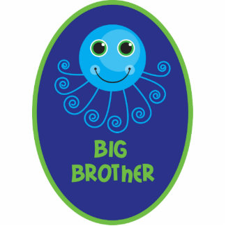 Template - Custom Octopus Big Brother Child's Name Standing Photo Sculpture