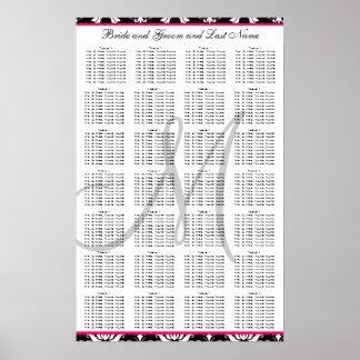 Template Damask Pink Wedding Seating Plan Chart Poster