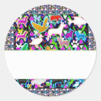 Template DIY + text Jewel Pearls Crystal Stones Round Sticker