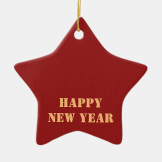 Template editable text 2017 Happy NEW YEAR Ceramic Star Decoration