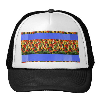Template Flowers painted stripes add TXT IMAGE FUN Trucker Hat