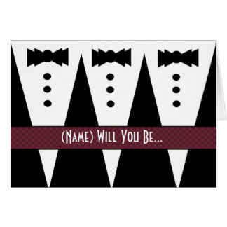 Template for GROOMSWOMAN Invitation 3 Tuxedos Greeting Card