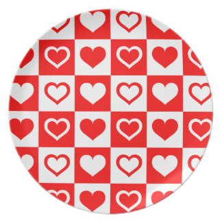 TEMPLATE KITCHEN GIFT, RED HEARTS PATTERN PLATE