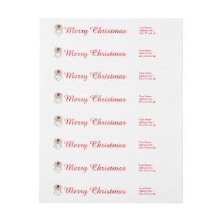 Template - Merry Christmas Metallic Filigree Angel Wraparound Return Address Label