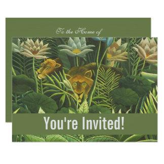Template Tropical Lion Art Print Custom Invitation