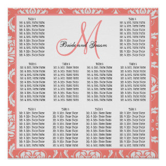 Template Wedding Seating Chart Damask Coral Pink Poster