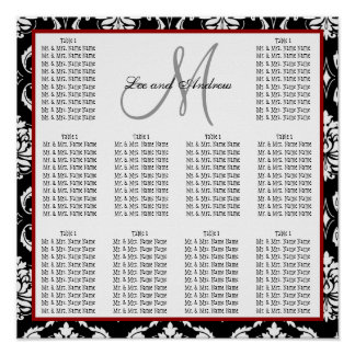 Template Wedding Seating Chart Damask Hot Red Poster