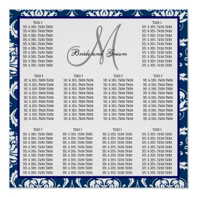 Template Wedding Seating Chart Damask Navy Blue Print by monogramgallery