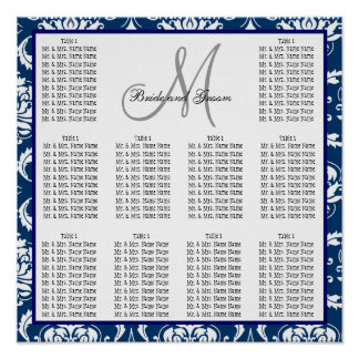 Template Wedding Seating Chart Damask Navy Blue Poster