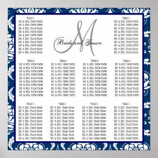 Template Wedding Seating Chart Damask Navy Blue Print