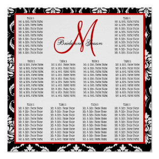Template Wedding Seating Chart Damask Red Poster