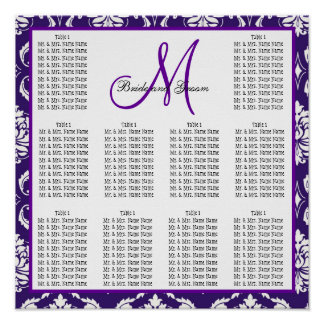 Template Wedding Seating Chart Purple Damask