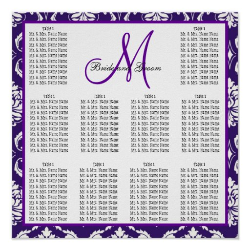 Wedding seating chart poster template 2