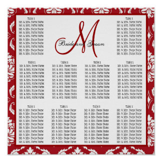 Template Wedding Seating Chart Red Damask Poster