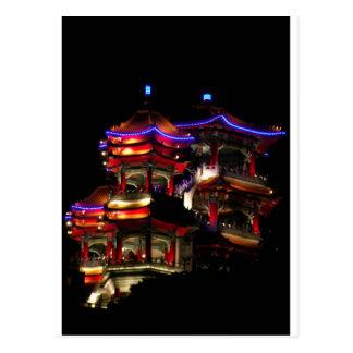 Temple at night postcard