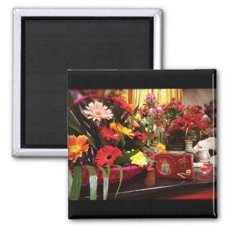 Temple - decorative flower display fridge magnet