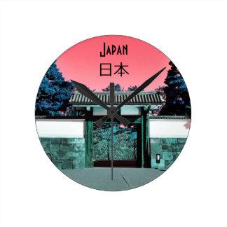 Temple gate in Tokyo, Japan Round Clock