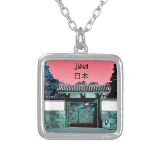 Temple gate in Tokyo, Japan Silver Plated Necklace