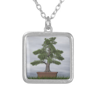 Temple juniper tree bonsai - 3D render Silver Plated Necklace