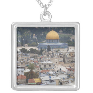 Temple Mount and Dome of the Rock Square Pendant Necklace