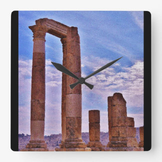 Temple of Hercules Square Wall Clock